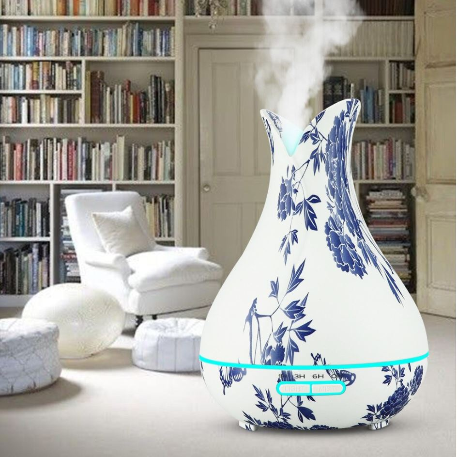 Blue Floral Vase LED Ultrasonic Aromatherapy Humidifier, 400ml